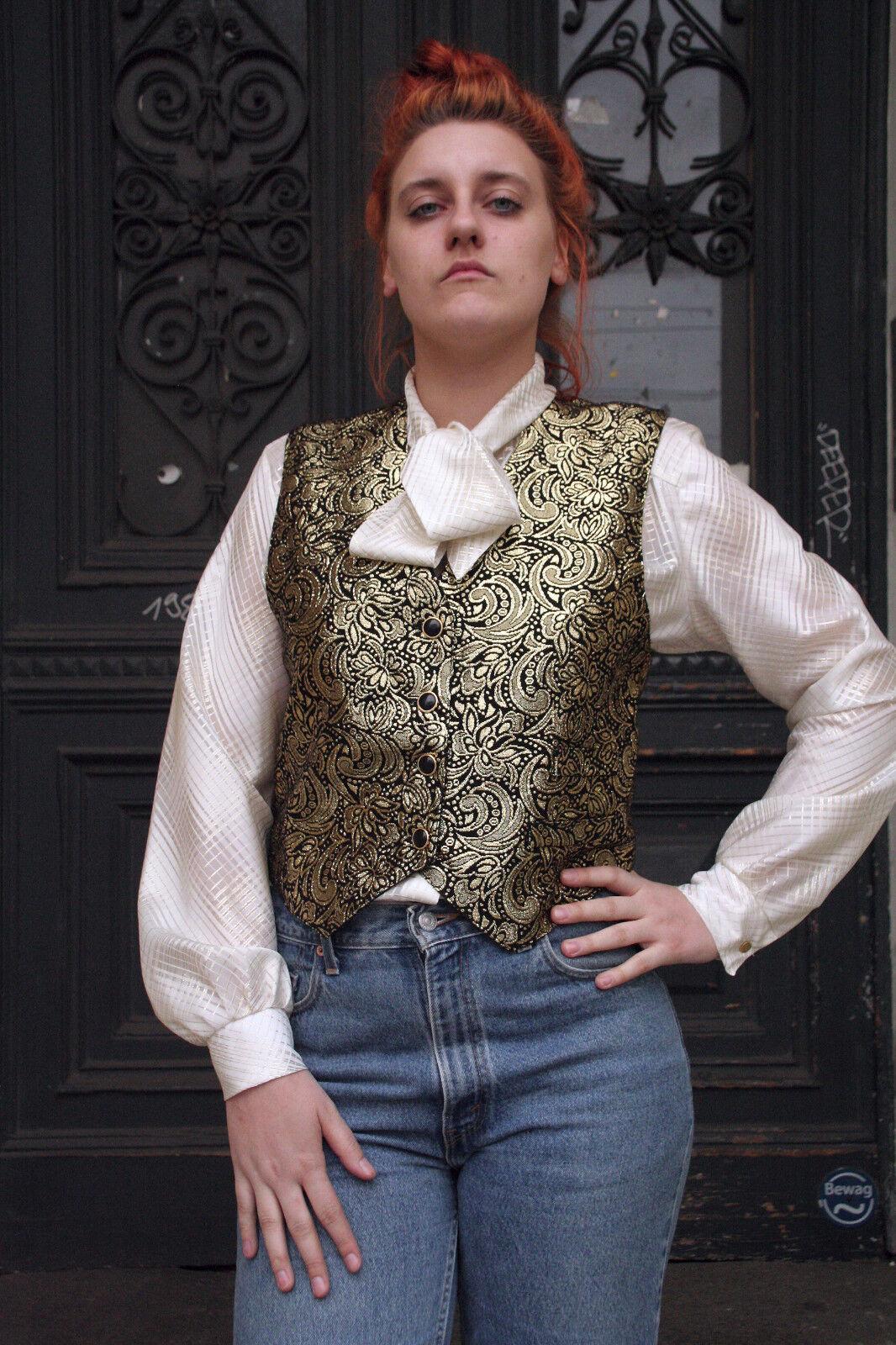 Damen Schluppen Blause weiß Gold 90er True VINTAGE damen blouse Weiß with Gold