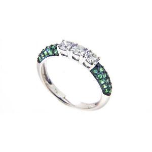 Ring-750er-Weissgold-Diamanten-0-45-Karat-0-51-ct-Smaragde-Kolumbien-Neu