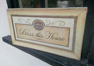 Kitsch-Sign-Bless-this-House-retro-Vintage-Antique-Type-Plaque-Religion-Home