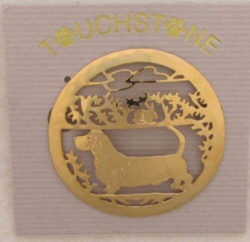 Basset Hound Jewelry Gold Locking Back Pin