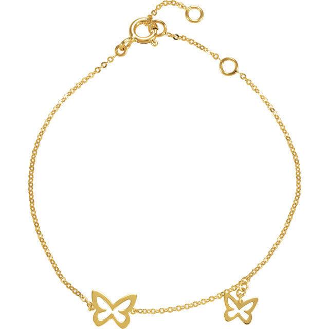 14k Yellow gold Two Open Butterfly Design Link Bracelet 7  Inch