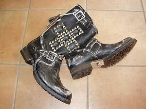 Stivali-Boots-Moto-Biker-SENDRA-borchie-teschi-vera-pelle-cuciti-41-42-o-43