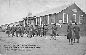 LOUISVILLE-WW1-U-S-ARMY-CAMP-TAYLOR-YMCA-BUILDING-20000-MEN-ENTER-DAILY-POSTCARD