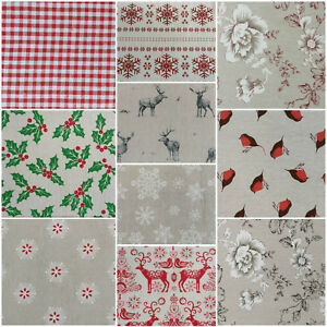 Image Is Loading NEW Designer Vintage CHRISTMAS Linen Look Print Designs