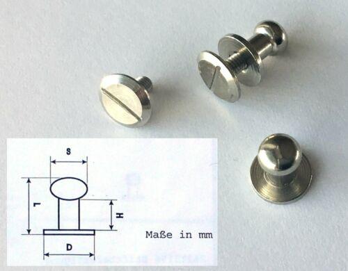 2 x Knopfniete mit Schraube rostfrei 9x6 Messing//vernickelt