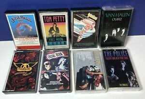 Lot-of-8-ROCK-CASSETTE-TAPES-70-039-s-80-039-s-Aerosmith-Cheap-Trick-The-Cars-Tom-Petty