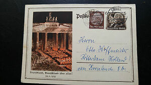 VERY-RARE-GERMANY-1933-DEUTSCHLAND-RALLY-COMMEMORATION-POSTALY-USED