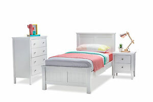 White Timber King Single Bed Frame Only Kids Bedroom Scratch