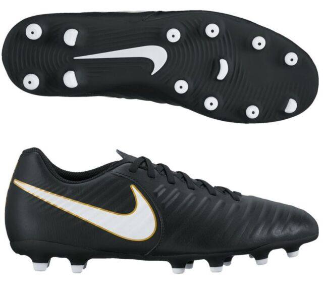 1df60271c5d 🔥New NIKE JR TIEMPO RIO IV FG SIZE 3Y BLACK YOUTH KIDS SOCCER CLEATS SHOES