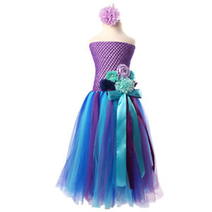 Girls Rainbow Purple Blue Pink Flower Tutu Princess Party Flower