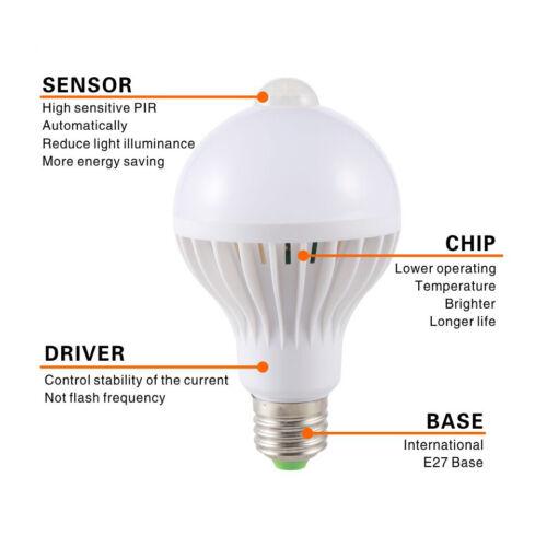E27 LED Motion Sensor Bulb PIR Night Light 5W 7W 9W Garden Stairs Safety Lamp CA