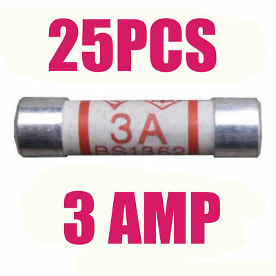 3A CERAMIC FUSE BS1362 PLUG TOP FUSES HOUSEHOLD DOMESTIC