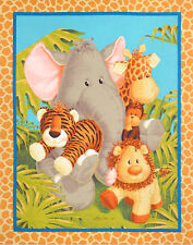 "Jungle Babies Patty Reed Nursery Baby Animals Cotton Fabric 35""X44"" Wall PANEL"