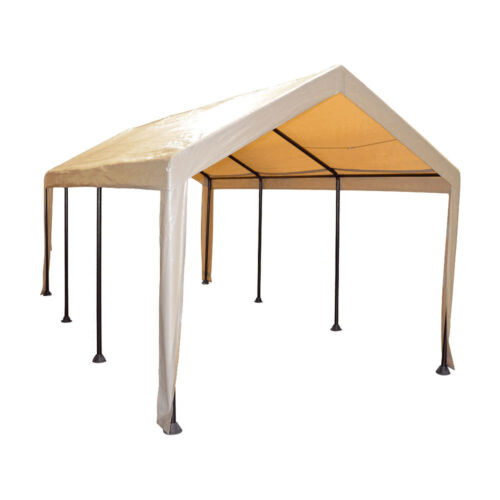 Tan Heavy Duty Canopy Tent 10x20 Carport Portable Car Steel Shelter 8 Legs