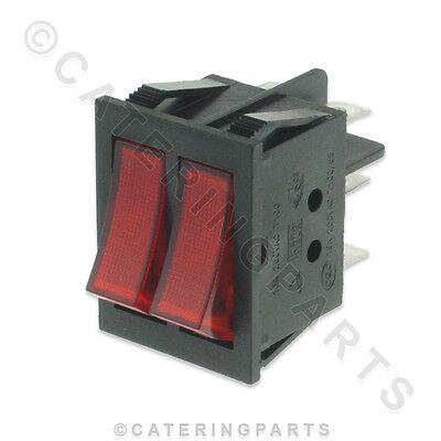 SARO AA277-6 TWIN / DOUBLE RED ILLUMINATED ROCKER / SELECTOR SWITCH 32mm x 22mm