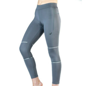 Haut-Femme-Asics-Lite-Show-7-8-Collants-Bas-Pantalon-Gris-Sport-Gym-Course