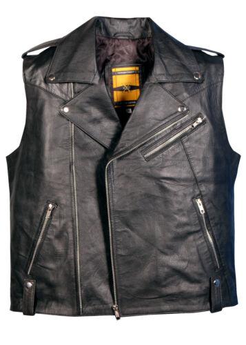 de noir cuir en gilet véritable Gilet moto moto 01Fwdd