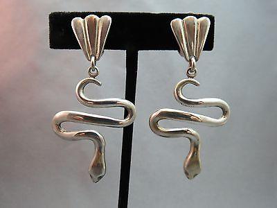 """VTG Snake Earrings Designer 925 Sterling Silver Earrings Clip On Bold 19g 2.5"""""""