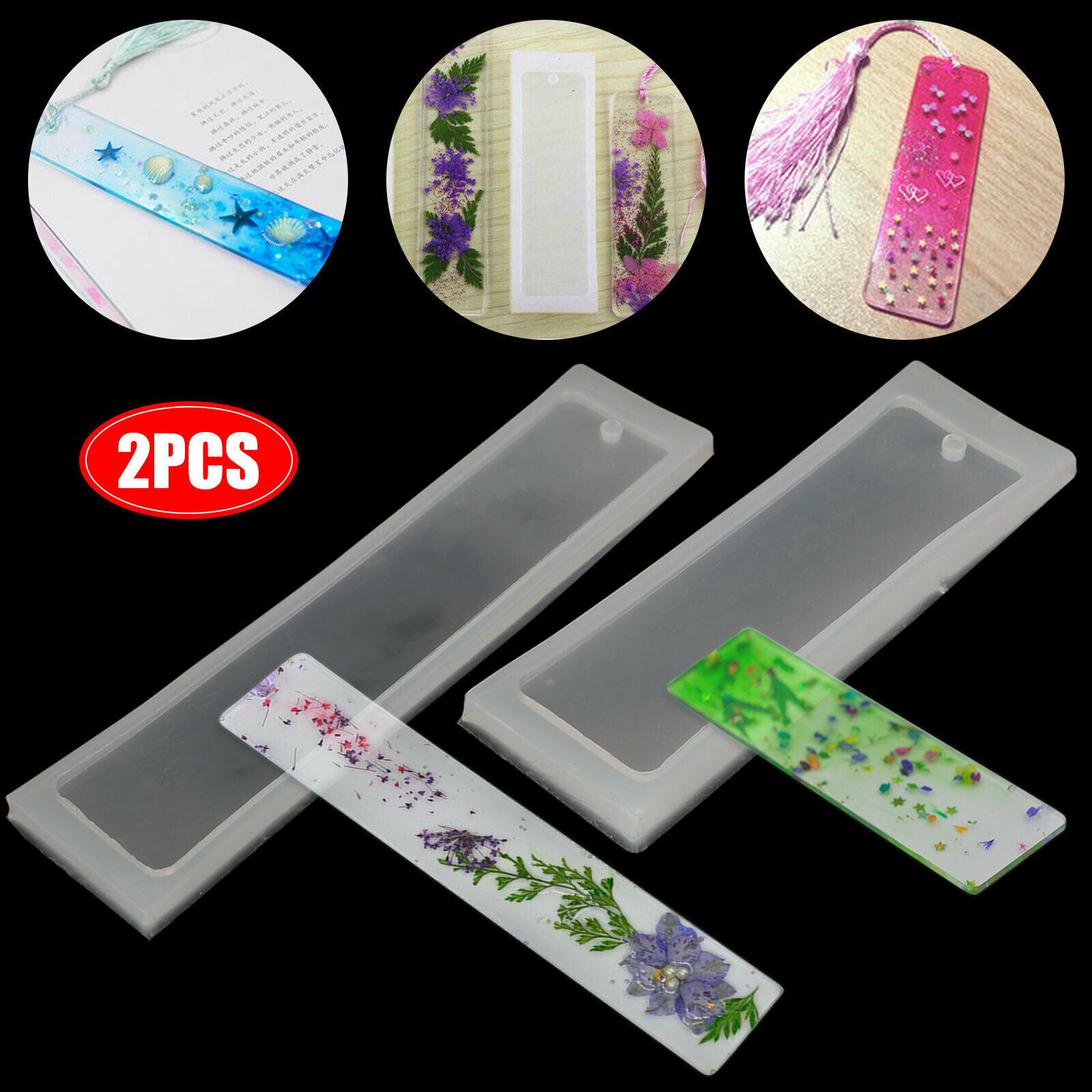 Rectangle Silicone Mold Mould Epoxy Resin Jewelry Bookmark DIY Craft Hole BE