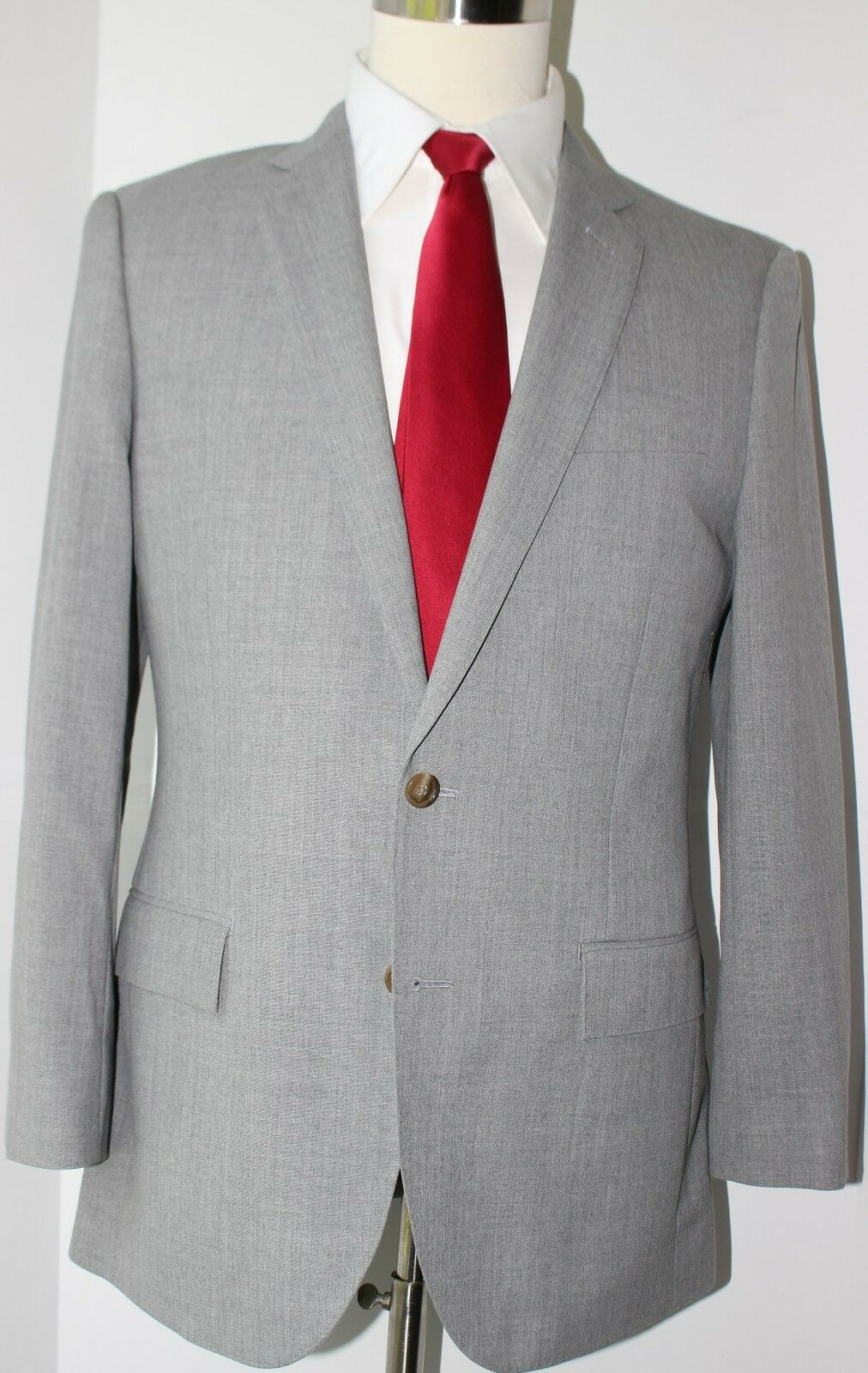 J. Crew Ludlow grau Side Vented Two Button Wool Suit 40 R Slim 36 31 Flat Pants