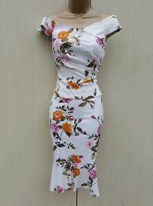e0ba7f16b4f515 Karen Millen Vintage Ivory Rose Print 2 Piece Outfit Wiggle Bardot ...