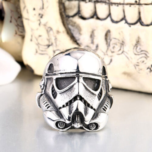 COOL New 316L Titanium Steel Style Mens Star Wars Stormtrooper Ring Sz 7-13