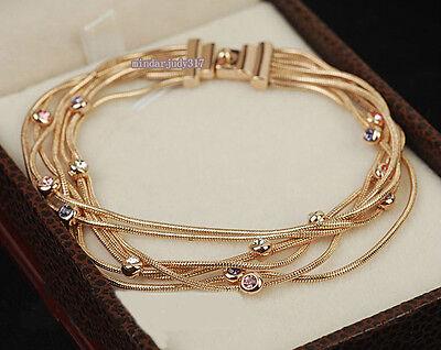 Fashion 18K Rose gold GP Multicoloured  Crystal Snake Bracelet P4
