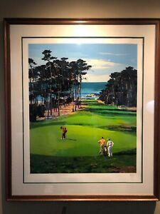 Mark-King-Spyglass-Hill-Golf-Club-Signed-By-Pencil-Framed-50-X-42-5-LXXIX-C