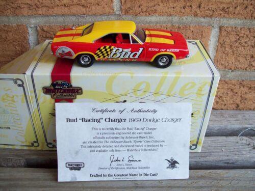 MIB MATCHBOX BUDWEISER RACING 1969 DODGE CHARGER COA 1:43 DIECAST