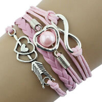 Fashion Infinity Jewelry Antique Leather Charm Bracelet Lots Style Pick Hot Sell