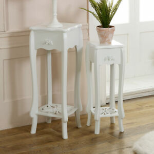 white-lamp-occasional-side-table-set-2-french-shabby-vintage-chic-hallway-plant