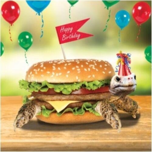 3D Holographic Tortoise Burger Birthday Card Square Greeting Cards