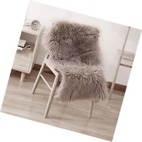 Leevan Supersoft Fluffy Chair Cover Sheepskin Rug Seat Cover Shaggy Silky Throw