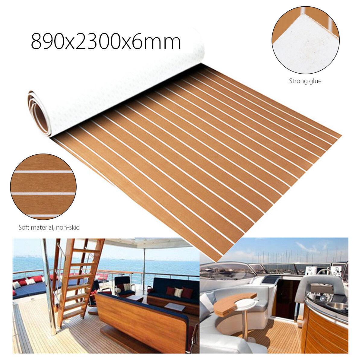 890x2300x6mm EVA Bodenbelag Fußboden Teak Selbstklebend Matte für Yacht Stiefel