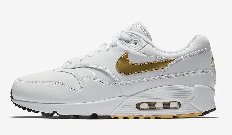 Nike Men's Air Max 90 1 NEW AUTHENTIC White Metallic gold Black AJ7695-102