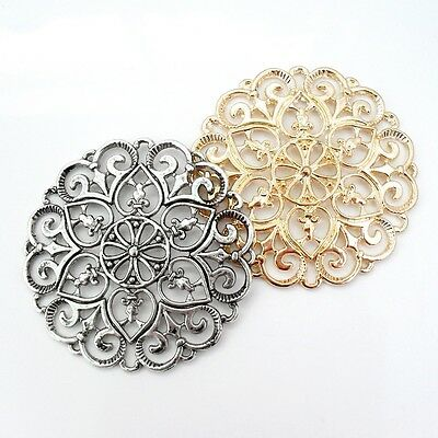 2 x Large Flower Filigree Connector Base Settings Pendant Focal Component