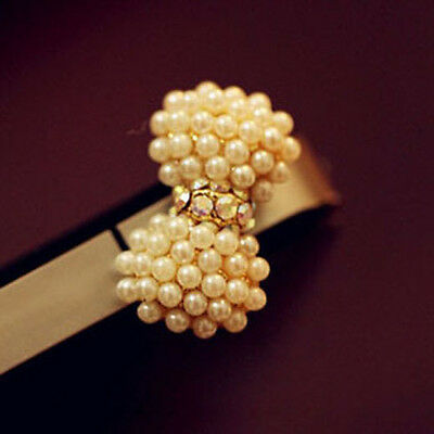 Chic Noble Crystal Pearl Bowknot Cell Phone Headset Dust Plug for IPhone/Samsung