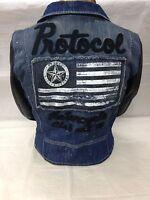 Protocol Parish Varsity Motorcycle Biker Jacket Denim Leather Retail $348+tax