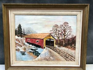Vintage-Painting-Covered-Bridge-Connecticut-American-Impressionist-Signed
