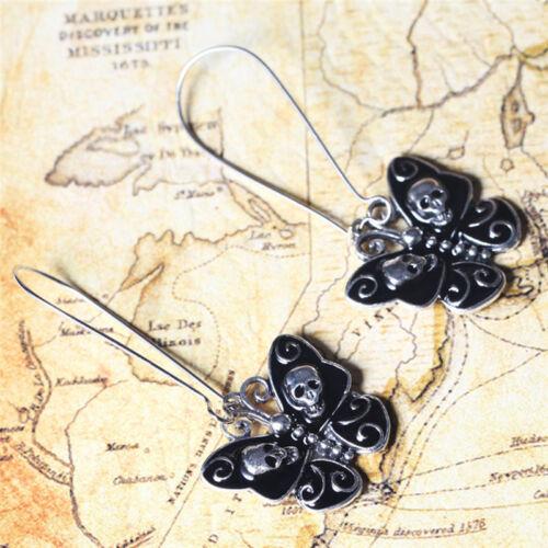 Women Retro Punk Gothic Fashion Jewelry Butterfly Skull Ear Dangle Long Earri Kd