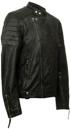 Homme Style Rétro Cross Fermeture éclair Brando Biker Veste en cuir véritable Soft Black Casual