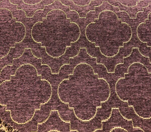 Fabricut-Purple-Gold-Emblem-Chenille-Upholstery-Fabric-by-the-yard
