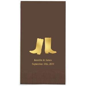 80 Western Boots Printed Rectangular Fold Wedding Dinner Napkins