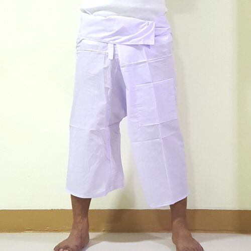 Thai Fisherman Trousers Pants Tora Color White shorts Massage Yoga beach /&TaiChi