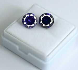Purple-Sapphire-Loose-Gemstone-Pair-8-Ct-Natural-Round-Cut-AGSL-Certified-2-Pcs