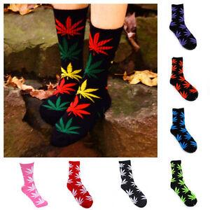5-Pairs-Unisex-Women-Men-Long-Warm-Cotton-Sports-Weed-Leaf-Socks-Ankle-Socks-US