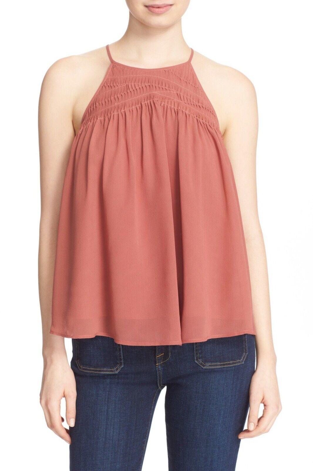 NWT- Joie Soseh Smocked Silk Sleeveless Top, Burnt Terracotta - Größe Small