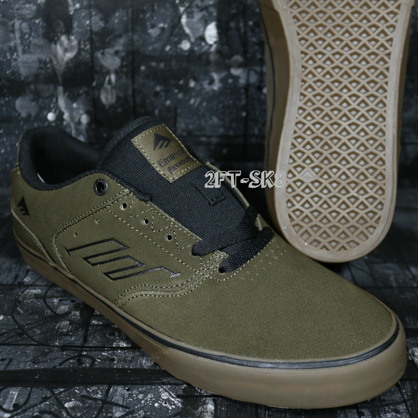 EMERICA THE REYNOLDS LOW VULC OLIVE GREEN BLACK GUM FAST FREE SHIP  8A195.137