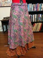 True Plus Size Reversible Long Magic Wrap Skirt Waist From End To End 60-64