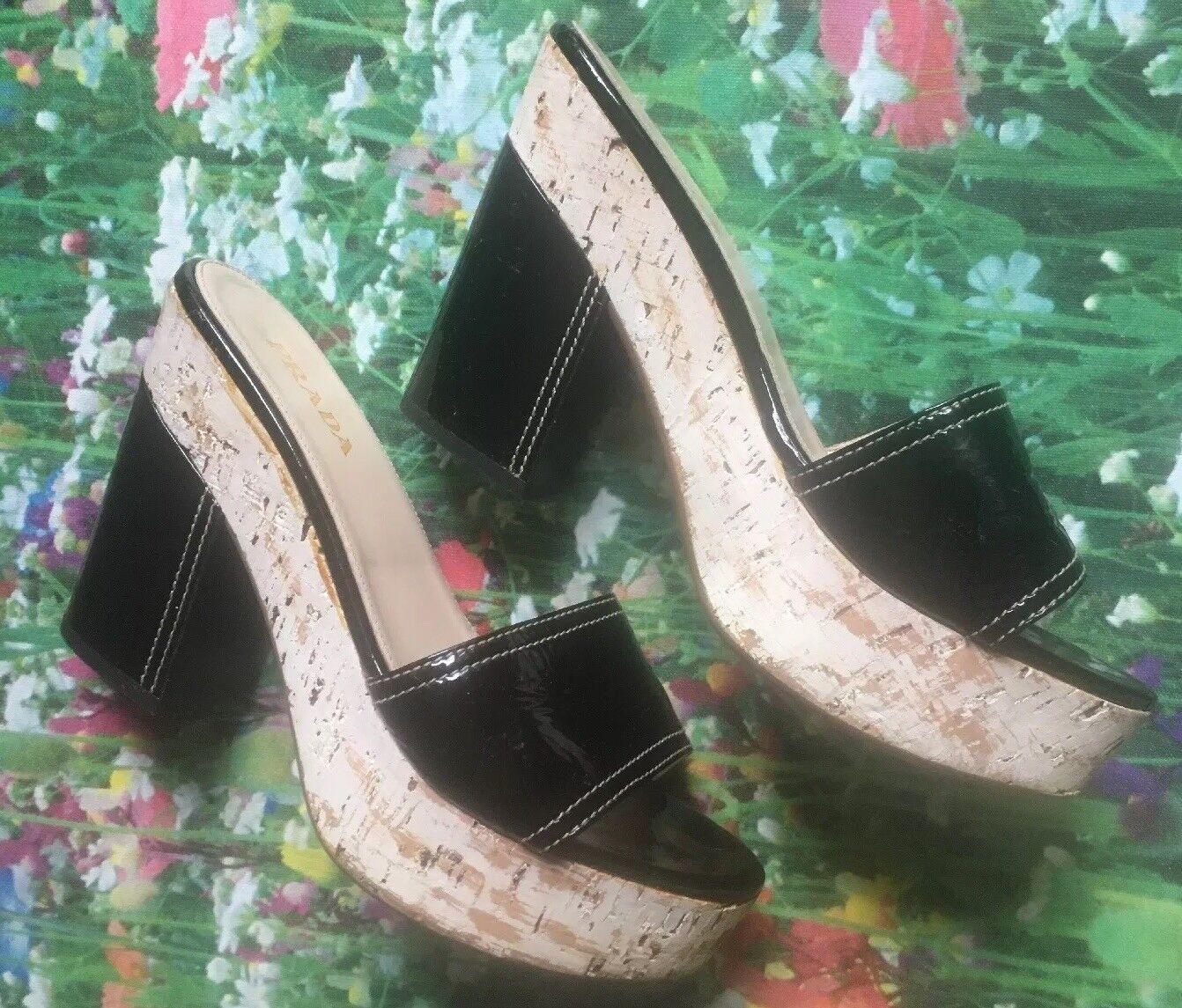 PRADA Clogs Size 39.5 Black Strap White Brushed Platform Black Block Heel